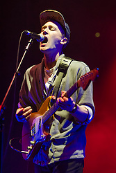 © Licensed to London News Pictures. 28/03/2014. London, UK.   Teleman performing live at Brixton Academy, supporting headliner Metronomy.   Photo credit : Richard Isaac/LNP