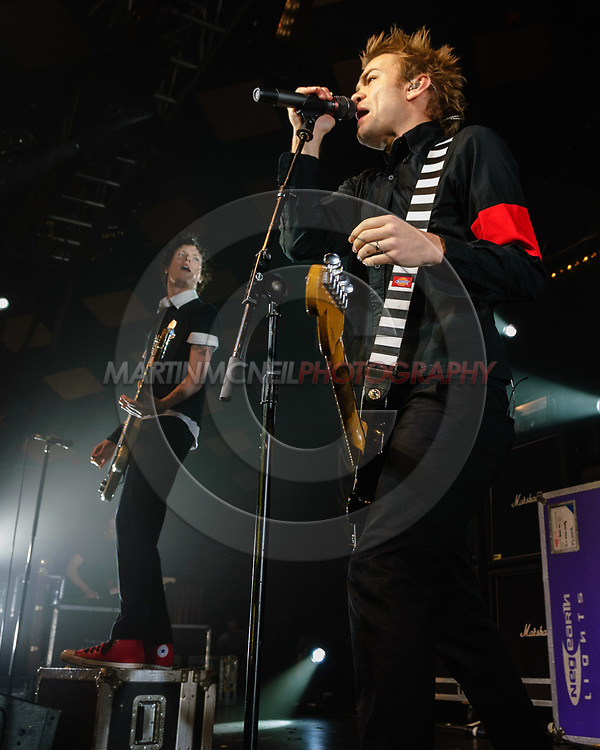 GLASGOW, SCOTLAND, MARCH 1, 2008: Deryck Whibley of rock band SUM 41 performs on stage inside the Barrowland Ballroom in Glasgow, Scotland (Copyright: Martin McNeil)