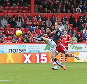 Dundee's Nick Ross comes close to making contact with a cross - Aberdeen v Dundee at Pittodrie<br /> - Ladbrokes Premiership<br /> <br />  - &copy; David Young - www.davidyoungphoto.co.uk - email: davidyoungphoto@gmail.com