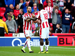 (Caption Correction) Jese of Stoke City celebrates with Mame Biram Diouf of Stoke City after scoring a goal to make it - Mandatory by-line: Robbie Stephenson/JMP - 19/08/2017 - FOOTBALL - Bet365 Stadium - Stoke-on-Trent, England - Stoke City v Arsenal - Premier League