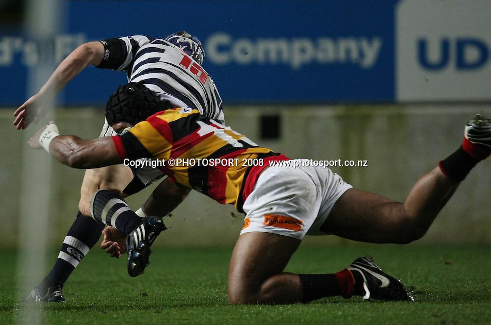 Waikato's Faifili Levave can't stop Lachie Munro's try. Air NZ Cup, Waikato v Auckland, Waikato Stadium, Hamilton, Saturday 30 August 2008. Waikato won 34-13. Photo: Stephen Barker/PHOTOSPORT