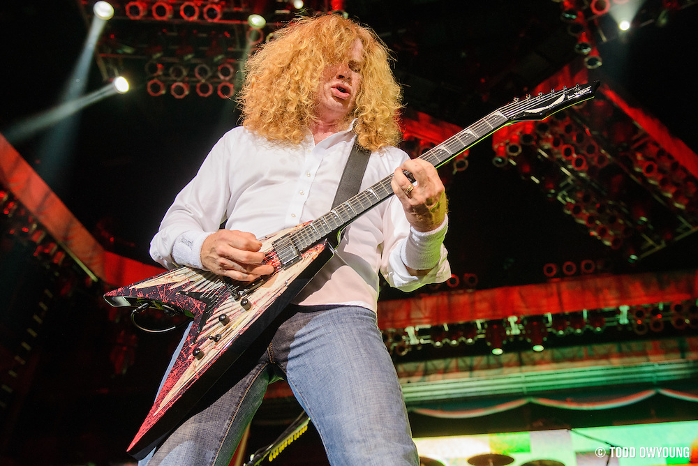 Heavy metal band Megadeth performing in support of Iron Maiden on the Maiden England world tour at Verizon Wireless in St. Louis, Missouri on September 8, 2013.