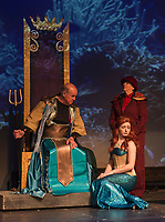 """Ken Chapman """"King Neptune"""" with Kelley Davies """"Marina"""" and Lynn Dadian """"Jules"""" under the sea during dress rehearsal for The Little Mermaid - a traditional English panto at the Winnipesaukee Playhouse on Tuesday.   (Karen Bobotas/for the Laconia Daily Sun)"""