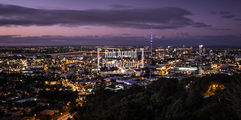 Dusk view of Auckland City from Mt. Eden