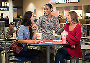 Shopping and dining scene at Fort Hood for advertising shoot