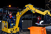 CAT Mini Excavation challenge during the Super Rugby match, Crusaders V Blues at Christchurch Stadium, Christchurch, New Zealand, 25th May 2019.Copyright photo: John Davidson / www.photosport.nz