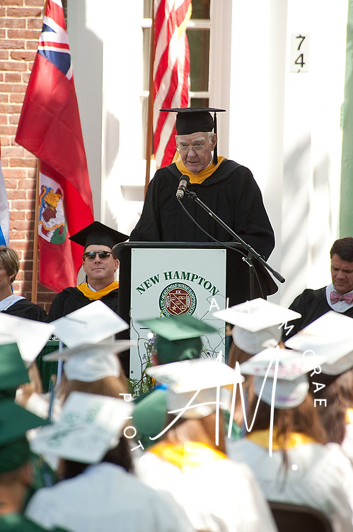Robert D. Kennedy, NHS Class of 1950, delivers the keynote address during commencement exercises at the New Hampton School on Friday, May 28, 2010.  (Alan MacRae/for the Citizen)
