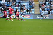 Coventry City striker Adam Armstrong has a shot during the Sky Bet League 1 match between Coventry City and Peterborough United at the Ricoh Arena, Coventry, England on 31 October 2015. Photo by Alan Franklin.