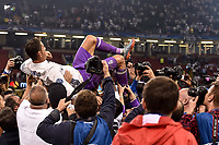 Cristiano Ronaldo of Real Madrid is carried in triumph during the UEFA Champions League Final match between Real Madrid and Juventus at the National Stadium of Wales, Cardiff, Wales on 3 June 2017. Photo by Giuseppe Maffia.<br /> <br /> Giuseppe Maffia/UK Sports Pics Ltd/Alterphotos