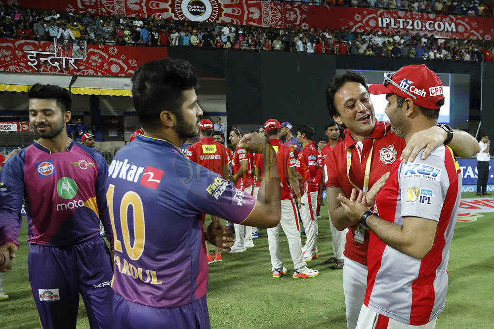 Ness Wadia owner of Kings XI Punjab with meet with Virender Sehwag after the match 4 of the Vivo 2017 Indian Premier League between the Kings X1 Punjab and the rising Pune Supergiant held at the Holkar Cricket Stadium in Indore, India on the 8th April 2017<br /> <br /> Photo by Arjun Singh - IPL - Sportzpics