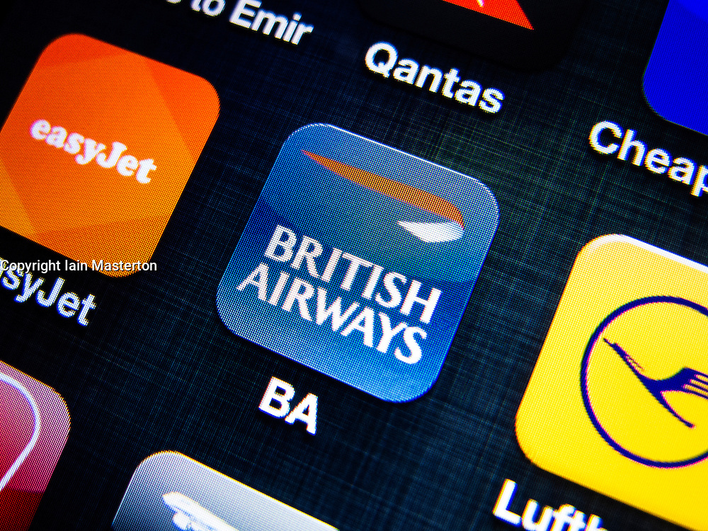 detail of British Airways airline app icon on iPhone screen