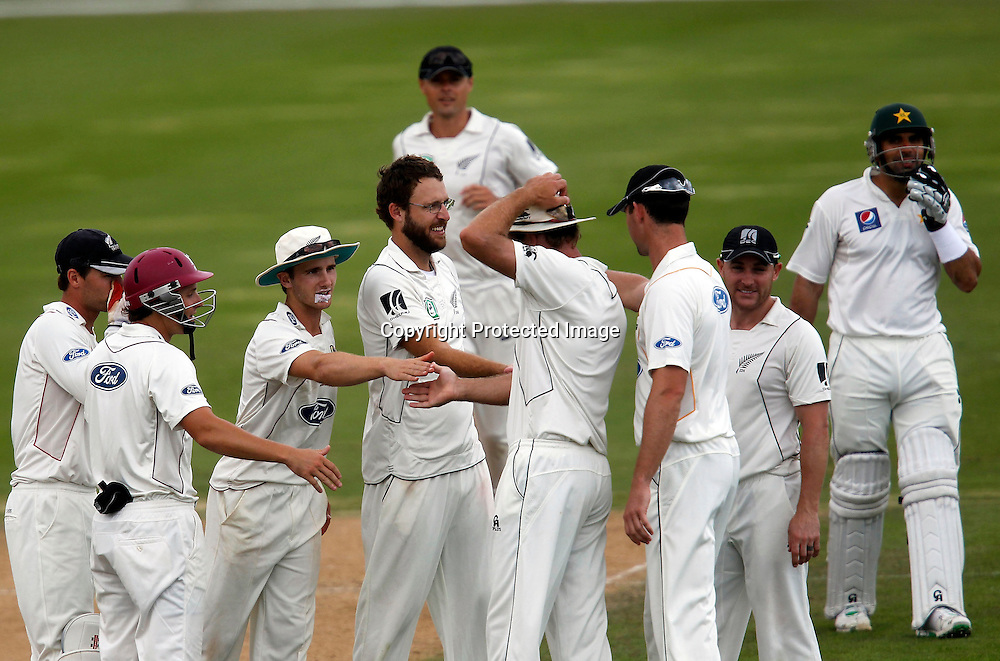 NZ XI celebrate another wicket. International Cricket, New Zealand XI v Pakistan, Day 2, Cobham Oval Whangarei, Monday 3rd January 2011. Photo: Shane Wenzlick / www.photosport.co.nz