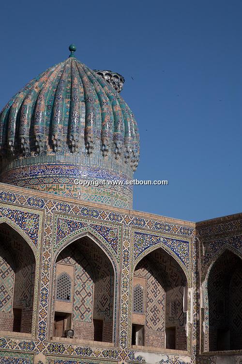 Sher Dor  merdessa. Registan complex, mosque and coranic schools  Samarcand  Ouzbekistan  .///.Sher Dor madrassa. Registan ensemble des mosquees et ecole coranique, XV VII  Samarcande  Ouzbekistan .///.OUZB56219