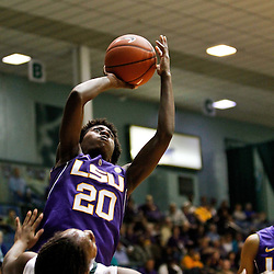 November 19, 2011; New Orleans, LA; LSU Lady Tigers guard Destini Hughes (20) shoots over Tulane Green Wave guard Tyria Snow (25) during the first half of a game at Avron B. Fogelman Arena.  Mandatory Credit: Derick E. Hingle-US PRESSWIRE
