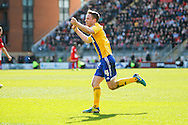 Adam Forshaw of Brentford celebrates Marcello Trotta's goal during the Sky Bet League 1 match at the Matchroom Stadium, London<br /> Picture by Mark D Fuller/Focus Images Ltd +44 7774 216216<br /> 15/03/2014