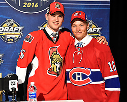 Logan Brown (left) and Mikhail Sergachev in the first round of the 2016 NHL Entry Draft in Buffalo, NY on Friday June 24, 2016. Photo by Aaron Bell/CHL Images