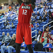 Maine Red Claws Guard Jermaine Taylor (12) takes a jump shot in the first half of a NBA D-league regular season basketball game between the Delaware 87ers and the Maine Red Claws (Boston Celtics) Friday, Dec. 12, 2014 at The Bob Carpenter Sports Convocation Center in Newark, DEL