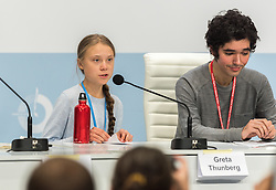 "9 December 2019, Madrid, Spain: Press conference with Greta Thunberg and Fridays for Future, at COP25 in Madrid. ""My story is already well known, so we are lending our voices today to others, whose stories need to be heard,"" Greta Thunberg said, introducing other young climate activists to share testimonies from around the world."