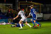 AFC Wimbledon midfielder Scott Wagstaff (7) going down and appealing for a penalty during the EFL Sky Bet League 1 match between AFC Wimbledon and Burton Albion at the Cherry Red Records Stadium, Kingston, England on 28 January 2020.