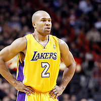 19 January 2012: Los Angeles Lakers point guard Derek Fisher (2) rests during the Miami Heat 98-87 victory over the Los Angeles Lakers at the AmericanAirlines Arena, Miami, Florida, USA.