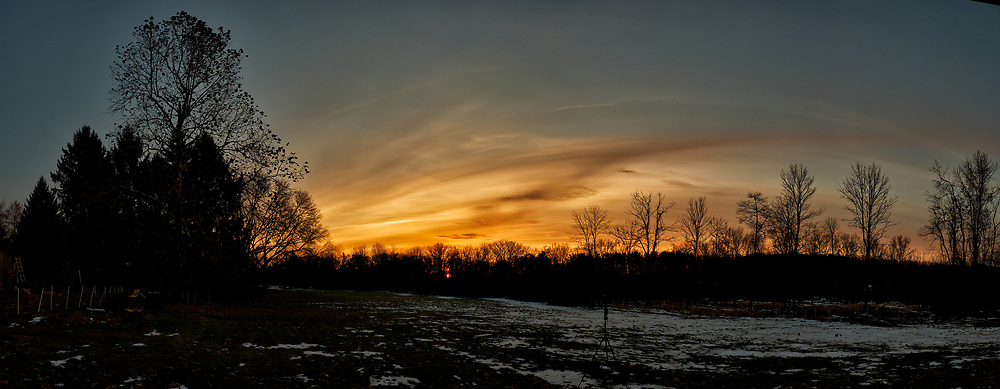 Backyard Sunrise Panorama. Composite of nine images taken with a Fuji X-T2 camera and 16 mm f/1.4 lens (ISO 200, 16 mm, f/11, 1/60 sec). Raw images processed with Capture One Pro and AutoPano Giga Pro.