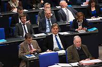 DEU, Deutschland, Germany, Berlin, 02.02.2018: AfD-Fraktionschef Alexander Gauland (MdB, Alternative für Deutschland, AfD) und AfD-Fraktionsgeschäftsführer Bernd Baumann während einer Plenarsitzung im Deutschen Bundestag.
