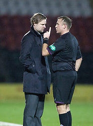 Ref Tumilty chats to Steven Pressley, Falkirk manager..Airdrie United 1 v 4 Falkirk, 22/12/2012..©Michael Schofield.