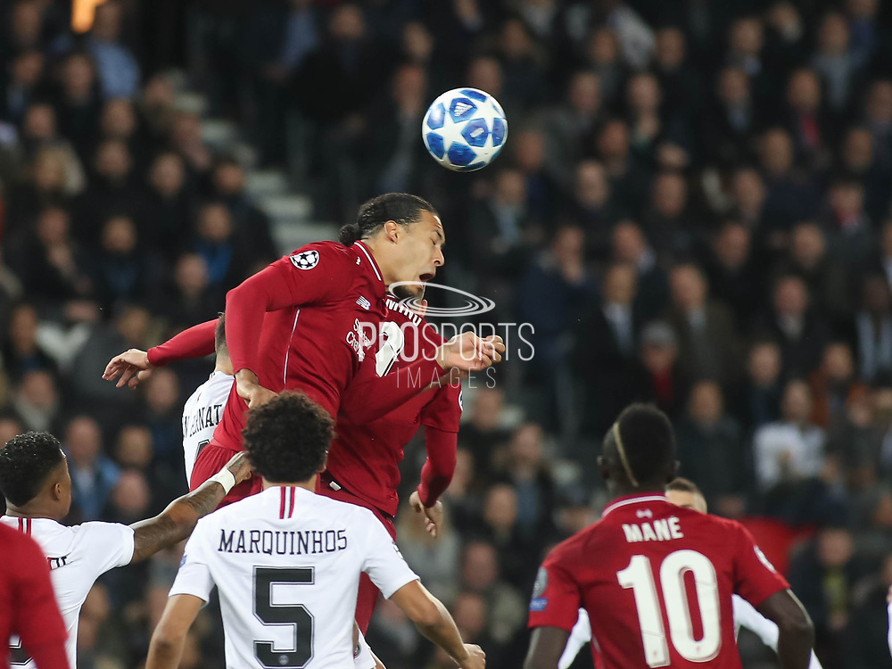 Virgil van Dijk of Liverpool tries to get the ball during the Champions League group stage match between Paris Saint-Germain and Liverpool at Parc des Princes, Paris, France on 28 November 2018.