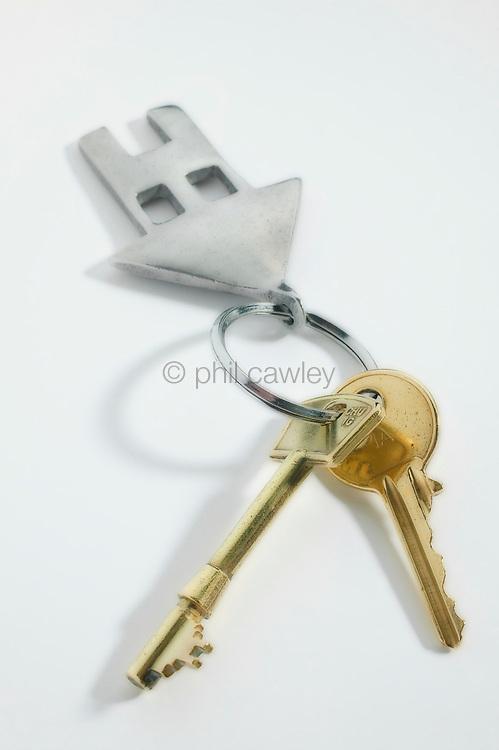 House keys on a house shaped key fob