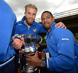 Bristol Rovers' Will Puddy and Angelo Balanta pose with the Vanarama Conference Play-Off Final trophy - Photo mandatory by-line: Dougie Allward/JMP - Mobile: 07966 386802 - 25/05/2015 - SPORT - Football - Bristol - Bristol Rovers Bus Tour