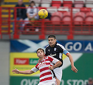 Dundee&rsquo;s Darren O&rsquo;Dea heads clear from Hamilton&rsquo;s Eamonn Brophy - Hamilton v Dundee in the Ladbrokes Scottish Premiership at Superseal stadium, Hamilton. Photo: David Young<br /> <br />  - &copy; David Young - www.davidyoungphoto.co.uk - email: davidyoungphoto@gmail.com