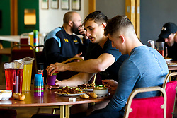 Josh Bassett of Wasps has lunch during training ahead of the European Challenge Cup fixture against SU Agen - Mandatory by-line: Robbie Stephenson/JMP - 18/11/2019 - RUGBY - Broadstreet Rugby Football Club - Coventry , Warwickshire - Wasps Training Session
