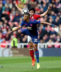 Fabio of Middlesbrough beats Luis Antonio Valencia of Manchester United to a header - Mandatory by-line: Robbie Stephenson/JMP - 19/03/2017 - FOOTBALL - Riverside Stadium - Middlesbrough, England - Middlesbrough v Manchester United - Premier League