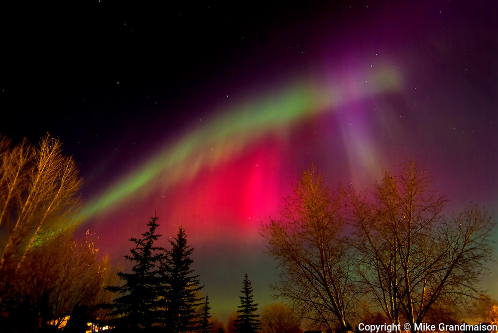 Northern lights or aurora borealis in Southdale neighbourhood<br /> Winnipeg<br /> Manitoba<br /> Canada