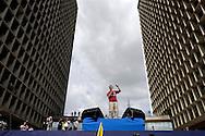CARACAS, VENEZUELA - JUNIO 10, 2012:  El candidato presidencial por la oposición venezolana, Henrique Capriles Radonsky, durante la concentración en la Plaza Caracas ante miles de simpatizantes que lo acompañaron hasta el Consejo Nacional Electoral para oficializar su candidatura presidencial para las elecciones del próximo 07 de Octubre.  Caracas, Venezuela Junio 10, 2012 (Ramon Lepage/Orinoquiaphoto)