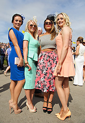 LIVERPOOL, ENGLAND - Friday, April 4, 2014: Zoe Higgins, Emma Summer, April Lewis and Emma Summlir during Ladies' Day on Day Two of the Aintree Grand National Festival at Aintree Racecourse. (Pic by David Rawcliffe/Propaganda)