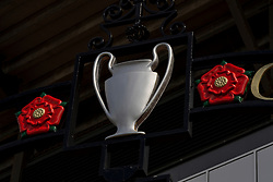 LIVERPOOL, ENGLAND - Monday, August 3, 2020: A European Cup trophy on the Paisley gateway outside the Spion Kop at Anfield, home of Liverpool FC. (Pic by David Rawcliffe/Propaganda)