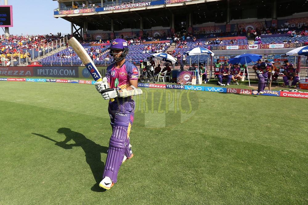 Rising Pune Supergiant openers arrive for bat during match 34 of the Vivo 2017 Indian Premier League between the Rising Pune Supergiants and the Royal Challengers Bangalore   held at the MCA Pune International Cricket Stadium in Pune, India on the 29th April 2017<br /> <br /> Photo by Faheem Hussain - Sportzpics - IPL