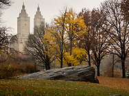 Autumn colors on Cherry Hill in Central Park with a view of the San Remo Apartment towers