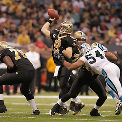 2008 December, 28: New Orleans Saints quarterback Drew Brees (9) passes the ball during a 33-31 week 17 loss by the New Orleans Saints to NFC South divisional rivals the Carolina Panthers at the Louisiana Superdome in New Orleans, LA.