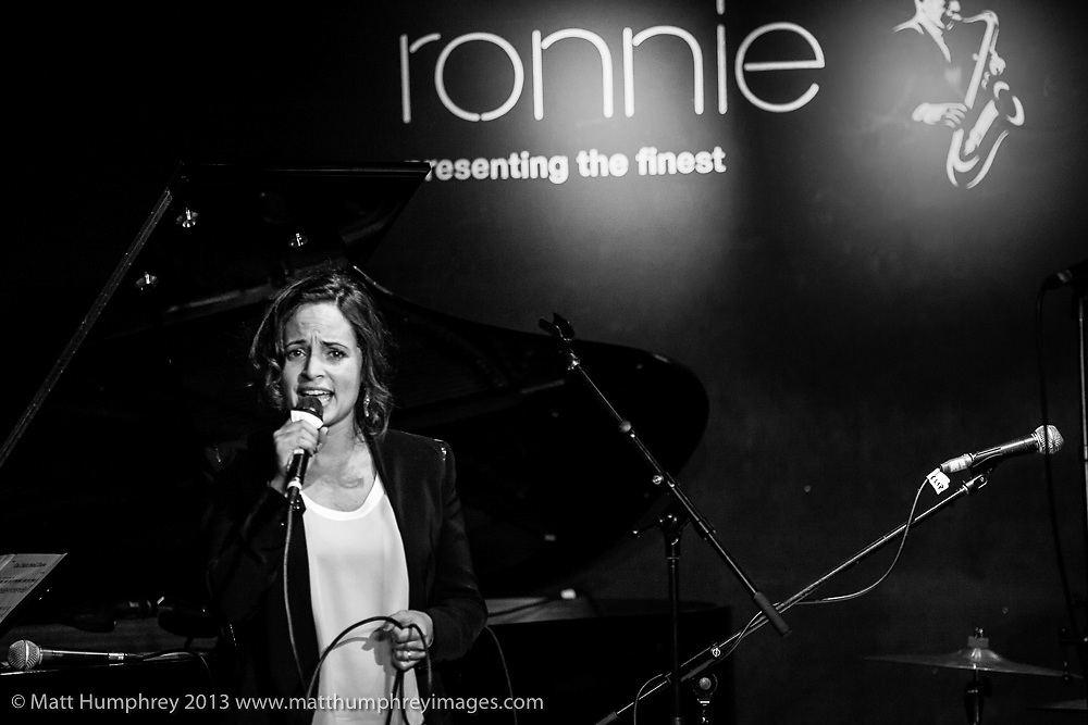 Emilia Mitiku during performance for BBC Radio 2 pilot of 'Joe Stilgoe: One Night Stand' at Ronnie Scott's Jazz Club, London, February 2013. Mandatory credit for all image use online or printed. Copyright and credit to © Matt Humphrey. All rights reserved.