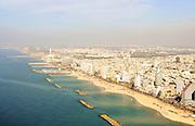 Aerial view of Tel Aviv coast line, Israel,