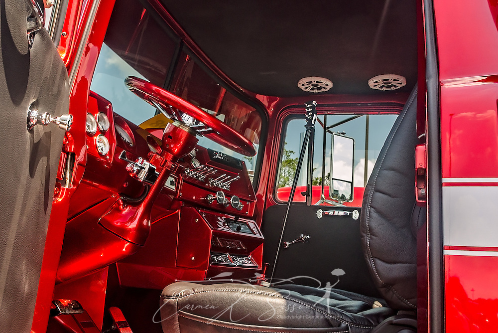 The interior of a 1991 Mack RD686, restored by Dickerson Custom Trucks, is displayed at the 34th annual Shell Rotella SuperRigs truck beauty contest, June 11, 2016, in Joplin, Missouri. SuperRigs, organized by Shell Oil Company, is an annual beauty contest for working trucks. Approximately 89 trucks entered this year's competition. The truck received the SuperRigs show truck award. (Photo by Carmen K. Sisson/Cloudybright)