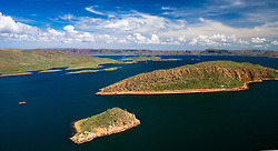 Aerial view of Lake Argyle in the East Kimberley.