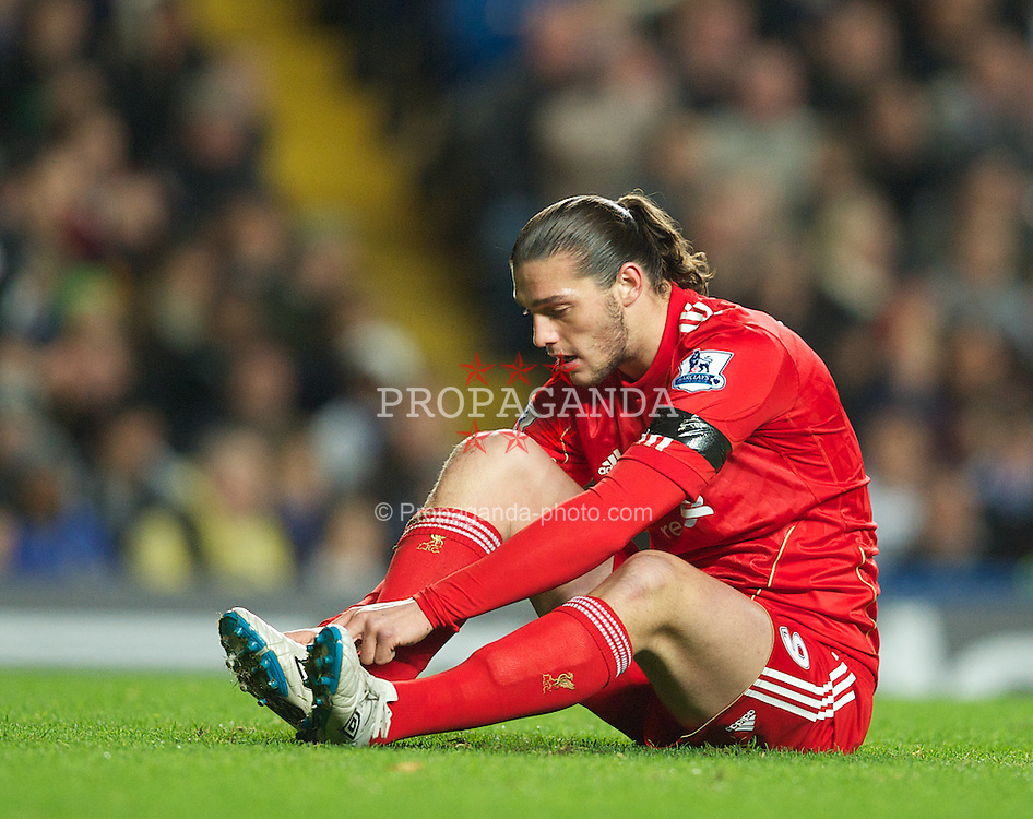 LONDON, ENGLAND - Tuesday, November 29, 2011: Liverpool's Andy Carroll in action against Chelsea during the Football League Cup Quarter-Final match at Stamford Bridge. (Pic by David Rawcliffe/Propaganda)