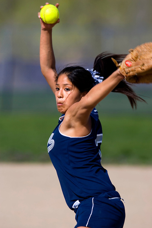 Hunter's Saphina Butler pitches her team to a 3-1 win over Cyrpess 3-1 in girls softball on Thursday, April 5, 2007 in Salt Lake City, Utah. August Miller/ Deseret Morning News