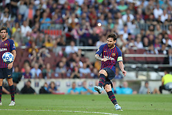 September 18, 2018 - Barcelona, Catalonia, Spain - Lionel Messi of FC Barcelona kicks the ball to score his side's opening goal during the UEFA Champions League, Group B football match between FC Barcelona and PSV Eindhoven on September 18, 2018 at Camp Nou stadium in Barcelona, Spain (Credit Image: © Manuel Blondeau via ZUMA Wire)