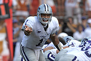 September 29, 2007 - Austin, TX..Quarterback Josh Freeman #1 of the Kansas State Wildcats calls out singles in the first quarter against the Texas Longhorns, during a NCAA football game at Darrell Royal-Texas Memorial Stadium on September 29, 2007...FBC:  The Wildcats defeated the Longhorn 41-21.  .Photo by Peter G. Aiken/Cal Sport Media