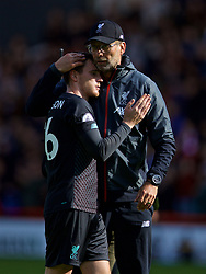 SHEFFIELD, ENGLAND - Thursday, September 26, 2019: Liverpool's manager Jürgen Klopp celebrates with Andy Robertson after the FA Premier League match between Sheffield United FC and Liverpool FC at Bramall Lane. Liverpool won 1-0. (Pic by David Rawcliffe/Propaganda)