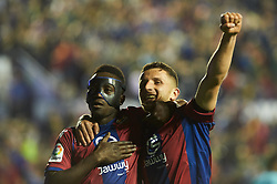 May 13, 2018 - Valencia, Valencia, Spain - Emmanuel Boateng and Enis Bardhi of Levante UD celebrates a goal during the La Liga match between Levante and FC Barcelona, at Ciutat de Valencia Stadium, on may 13, 2018  (Credit Image: © Maria Jose Segovia/NurPhoto via ZUMA Press)